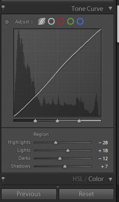 Uma captura de tela do painel de curva de tom no Lightroom