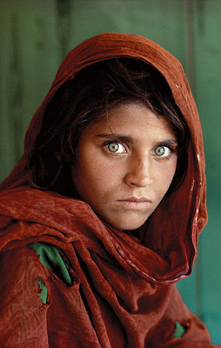 A portrait of a scared Afghan girl
