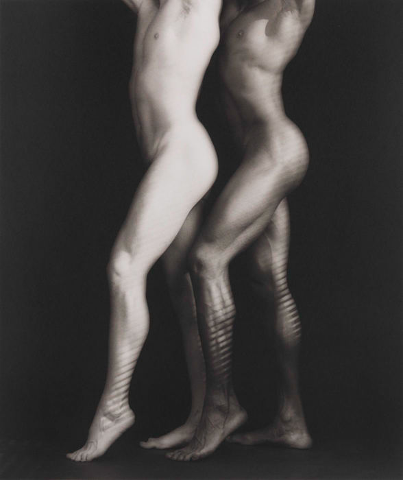 A nude of two men without showing their faces. Robert Mapplethorpe, b. 1946, Floral Park, New York; d. 1989, Boston Ken and Tyler1985Platinum printimage: 23 3/8 x 19 9/16 inches (59.4 x 49.7 cm); sheet: 25 7/8 x 22 1/4 inches (65.7 x 56.5 cm)Solomon R. Guggenheim Museum, New YorkGift, The Robert Mapplethorpe Foundation, 199696.4373edition 2/3Photo of object taken 2017