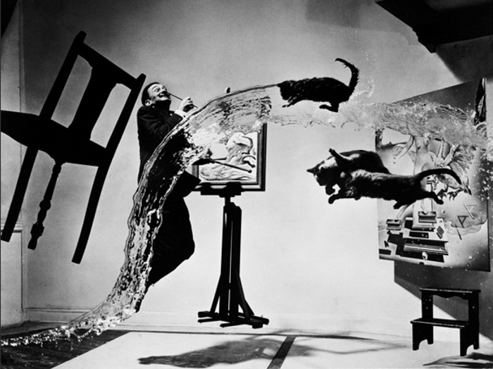 Salvador dali, 3 cats, a chair and 2 paintings in the air