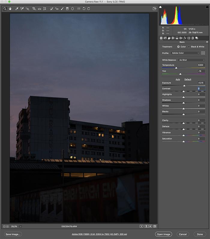 Uma captura de tela de como converter um arquivo ARW