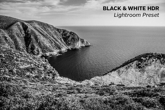 Paisagem editada com predefinições HDR do Lightroom em preto e branco a partir de predefinições carregadas