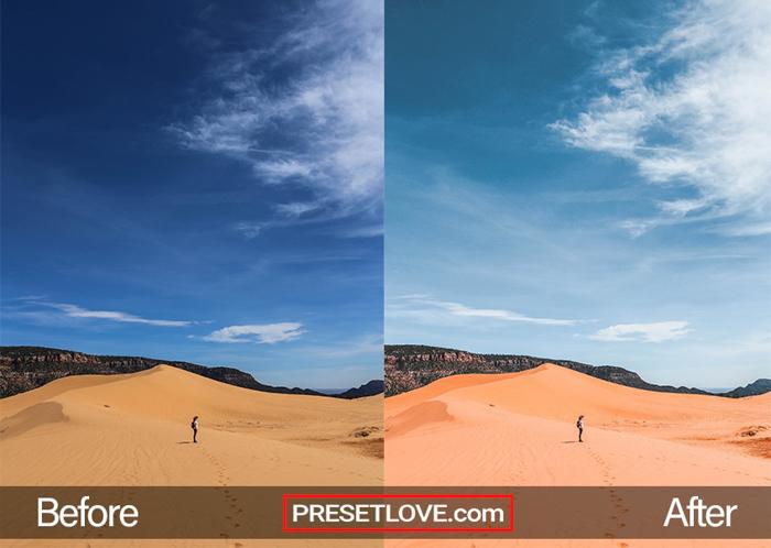 imagem de dunas do deserto editada com predefinições PresetLove Lightroom
