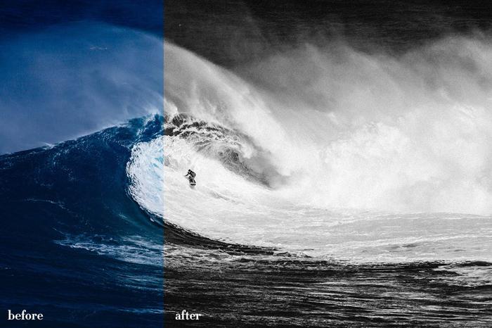 Imagem antes e depois das ondas da coleção editorial v2 Lightroom Presets