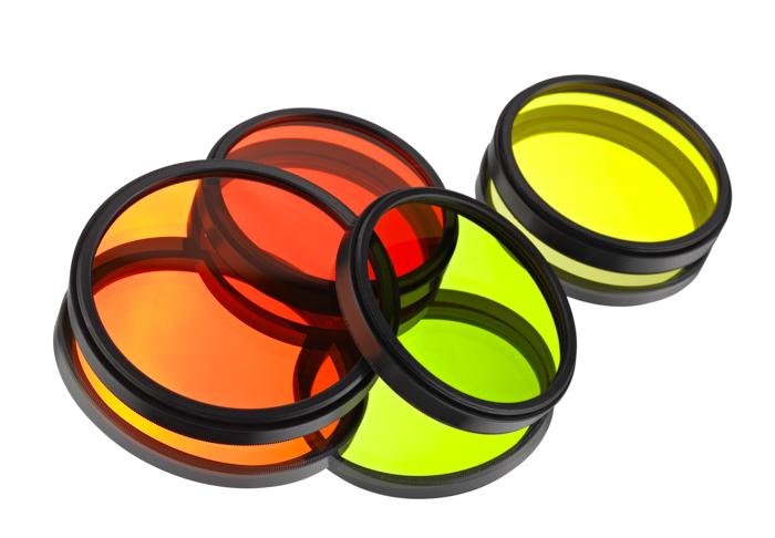 satu set filter warna merah oranye hijau dan kuning
