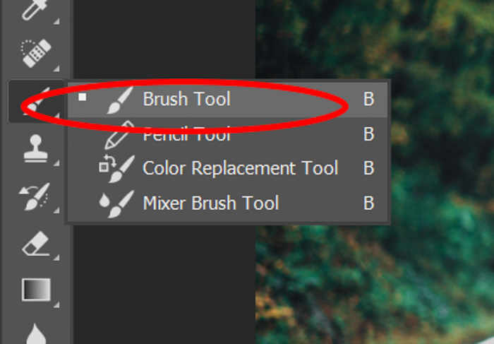 Screenshot of using the brush tool in Photoshop