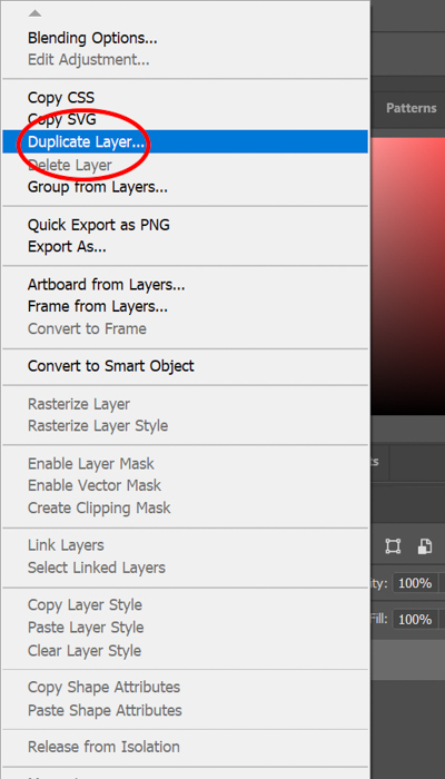 Screenshot of duplicating a layer in Photoshop