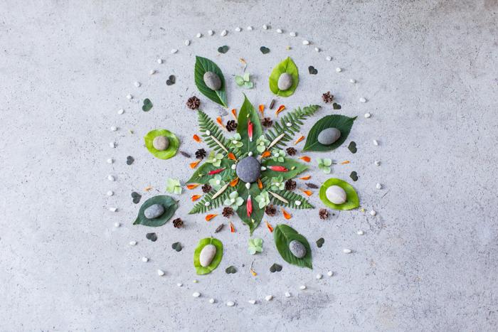 A balanced mandala made from natural elements