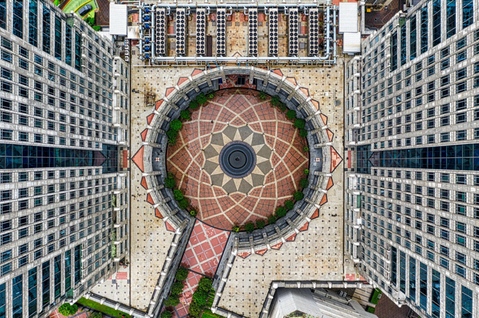 Birds eye view of interesting architecture