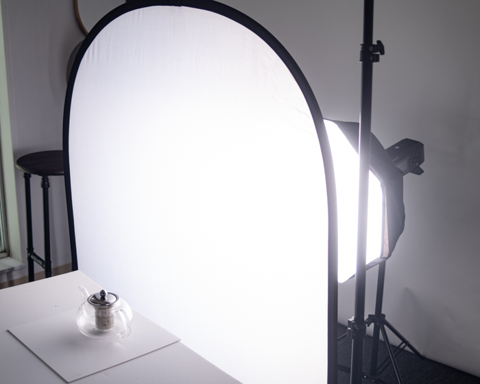 teapot with soft box, backlight and acrylic panel