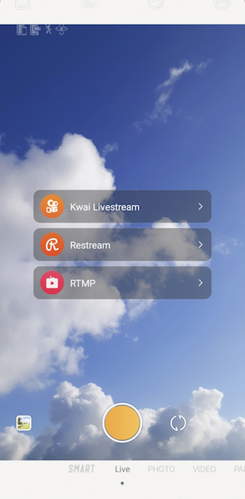 Captura de tela da função Zhiyun Smooth Livestream