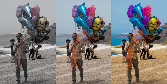 Triptych of a man holding balloons edited in different styles