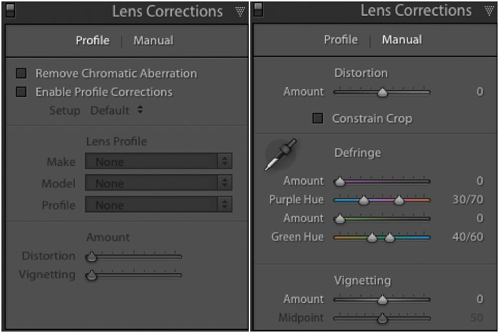 A screenshot of the Lightroom lens correction panel