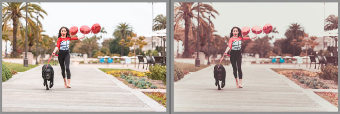 A screenshot of an outdoor portrait before and after editing in Lightroom