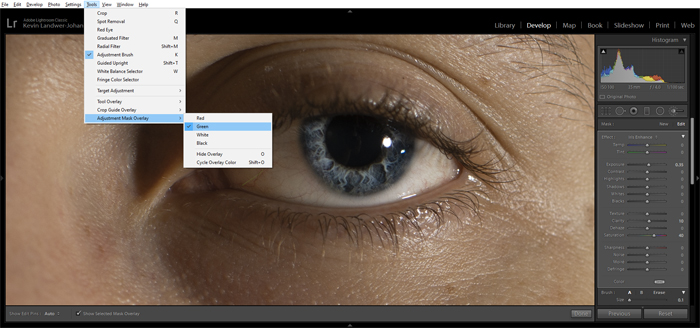 A screenshot of editing a persons eye in Lightroom