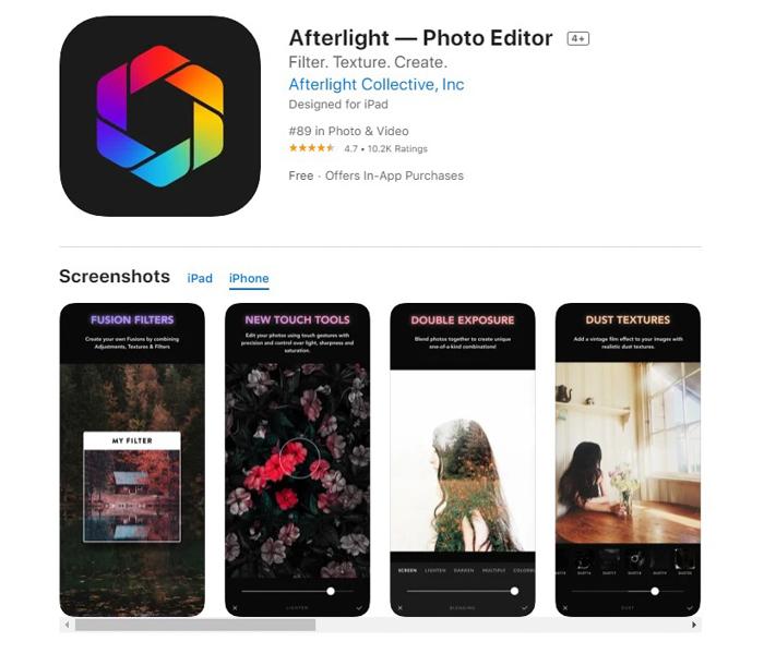 uma captura de tela do editor de fotos Afterlight da app store