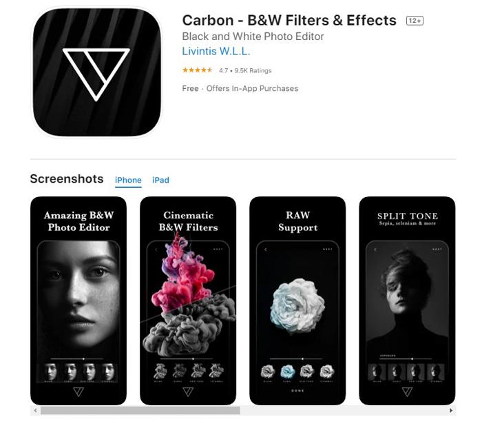 uma captura de tela de filtros de carbono e efeitos da loja de aplicativos iOS