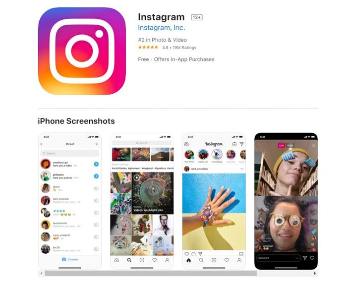 uma captura de tela do Instagram da app store