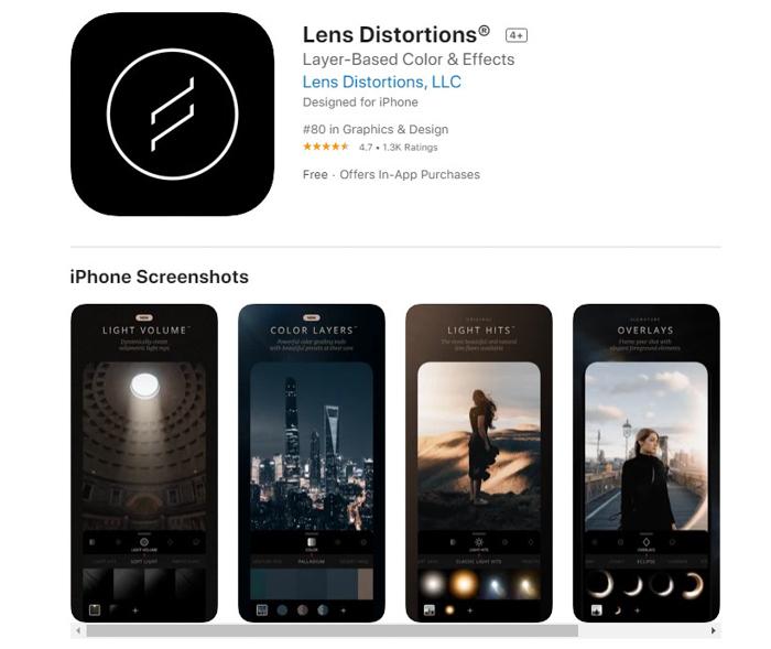 uma captura de tela das distorções de lente da loja de aplicativos iOS