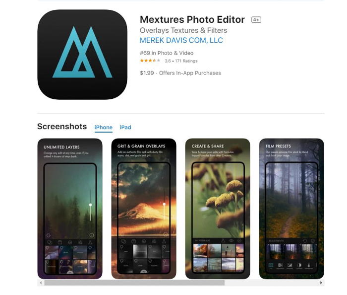 uma captura de tela do editor de fotos mix da loja de aplicativos ios