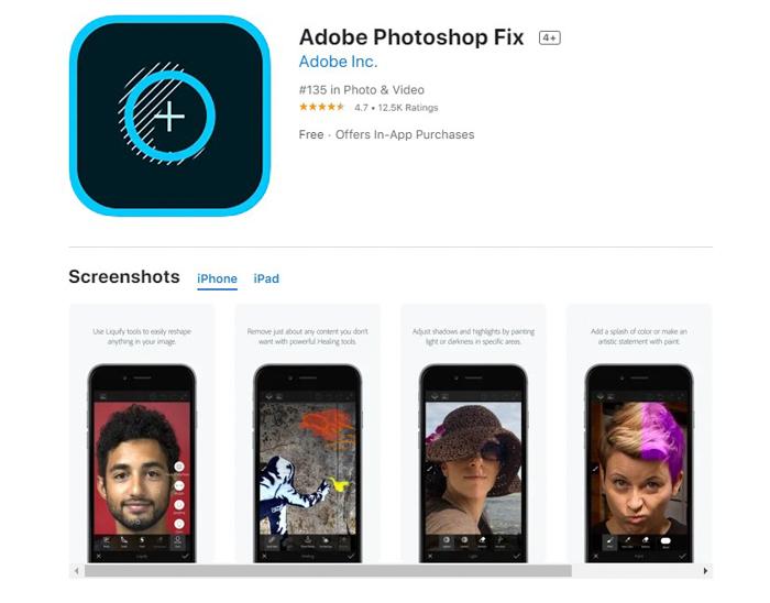 uma captura de tela do Adobe Photoshop Fix da loja de aplicativos
