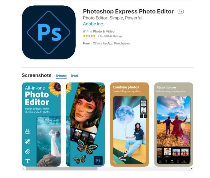 uma captura de tela do Photoshop Express Photo Editor da app store