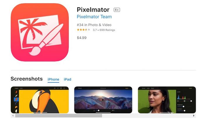 uma captura de tela do pixelmator da app store