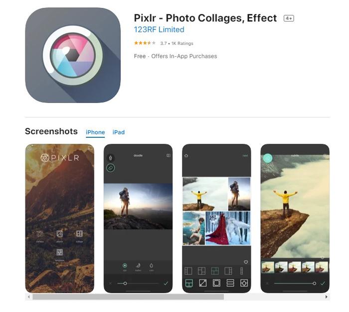 uma captura de tela do aplicativo editor de fotos pixlr da loja de aplicativos ios