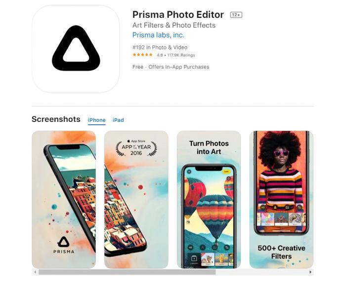 uma captura de tela do Prisma Photo Editor da app store