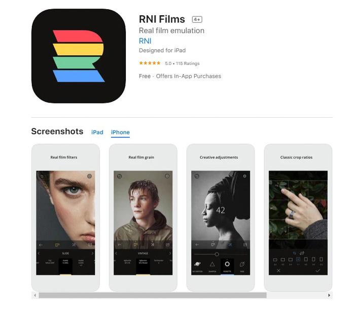 uma captura de tela de filmes rni da app store