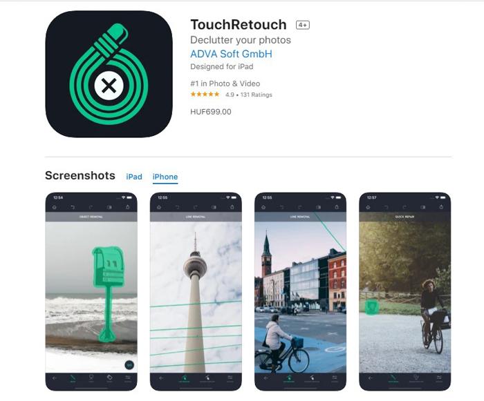 uma captura de tela do aplicativo de edição de fotos TouchRetouch da app store