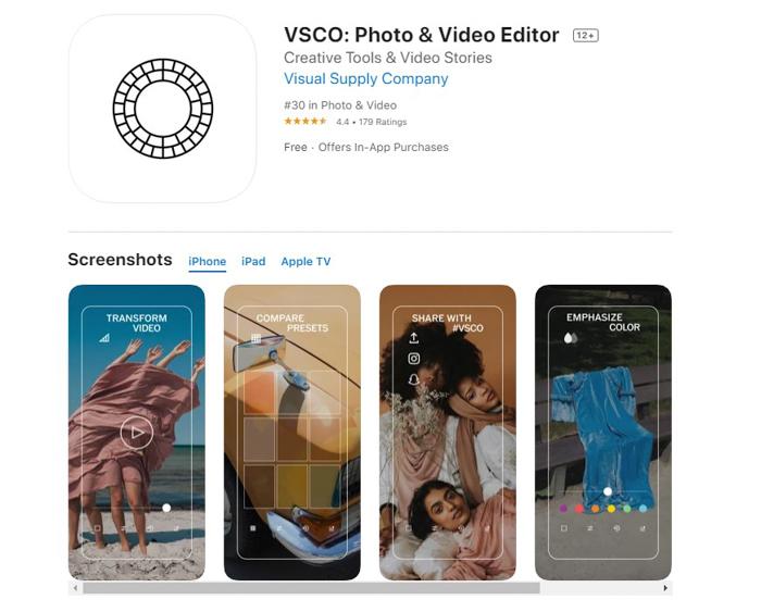 uma captura de tela do aplicativo editor de fotos VSCO da app store