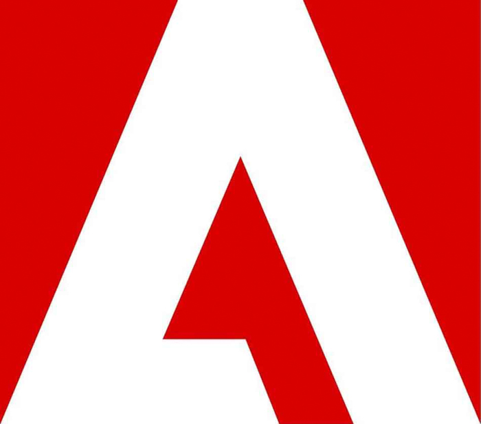 the adobe logo in red and white