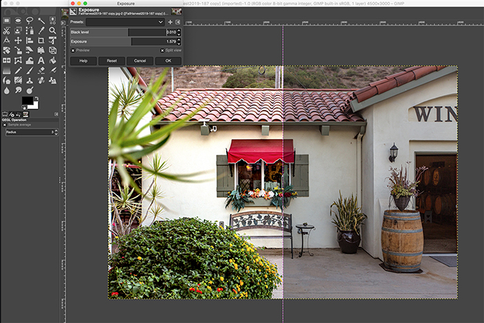 a screenshot of gimp photo editing software interface