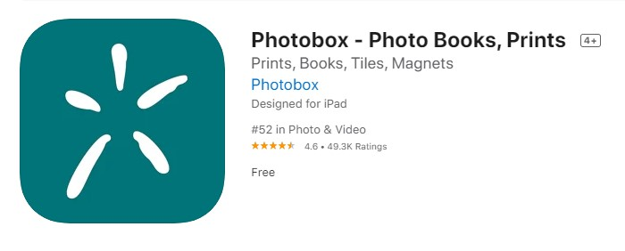 a screenshot of Photobox from the iOS App Store