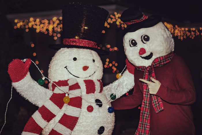 Funny christmas card photo ideas of two people in snowman costumes