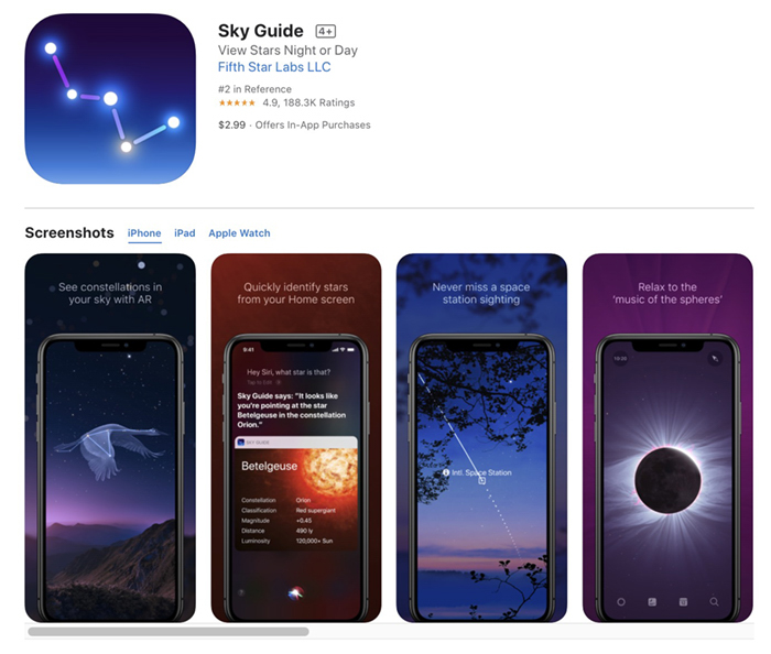 Screenshot of Sky Guide milky way app