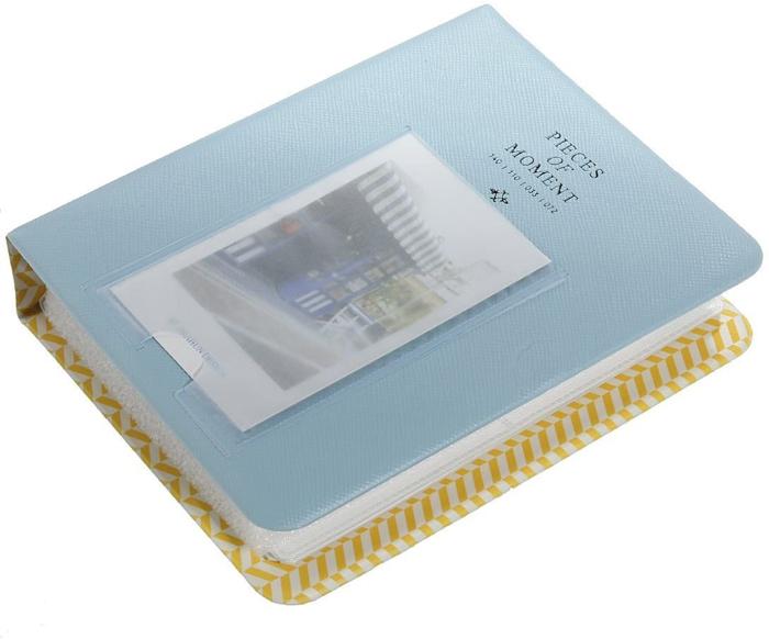 uma imagem de um álbum de fotos instax mini 8 azul e amarelo para fotos instantâneas
