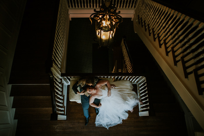 Atmospheric wedding portrait of a couple taken from above