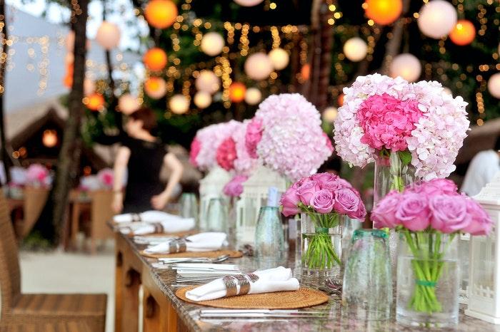 Table set at a wedding