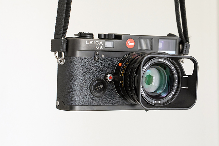 A photograph of the Leica M6 with strap