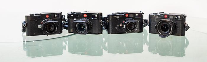 Coleção de câmeras Leica. Leica M10, Leica M240, Leica M6