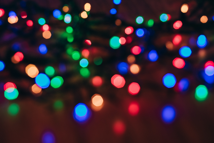 Bokeh colorido com luzes de natal