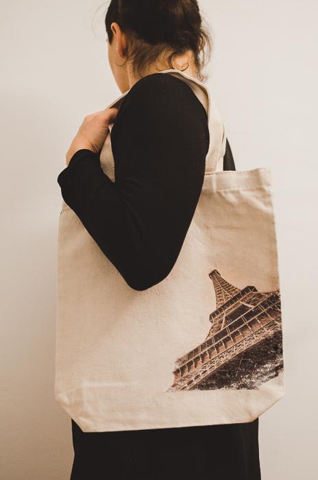 Uma sacola de lona personalizada com foto
