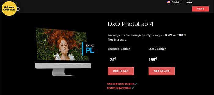 Captura de tela do preço do software de edição Dxo PhotoLab 4