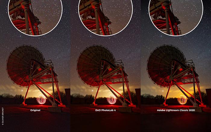 Imagem de comparação entre o Dxo PhotoLab 4 e a tecnologia de remoção de ruído Adobe Lightroom