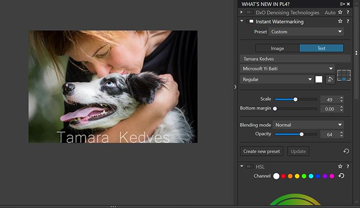 Imagem da função de marca d'água do software de processamento de imagem Dxo PhotoLab 4