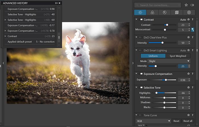 Imagem das ferramentas de edição do software de edição de fotos Dxo PhotoLab 4