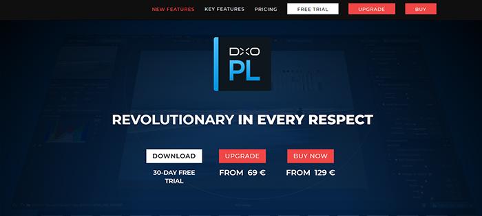 Captura de tela da página de teste gratuito do software de edição de fotos Dxo PhotoLab 4
