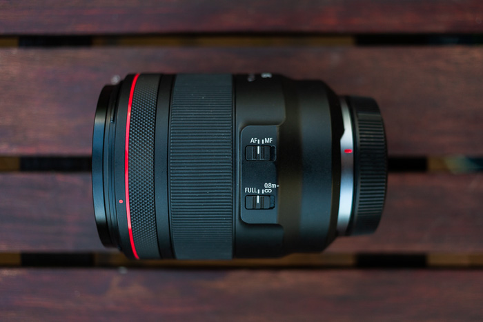 Image of the Canon RF 50mm f/1.2L USM lens from side